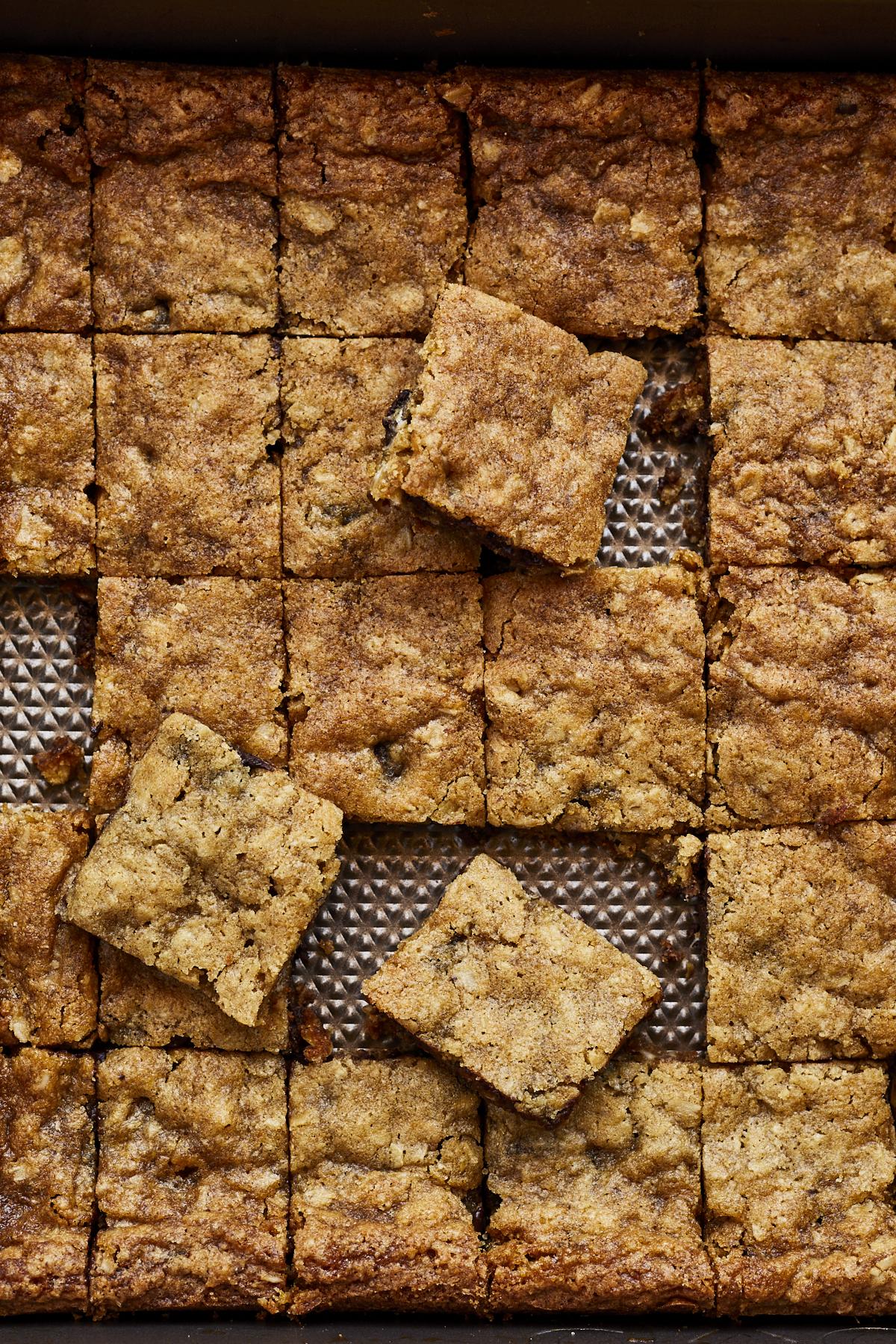 Oatmeal-Dark Chocolate Chip Pan Cookies